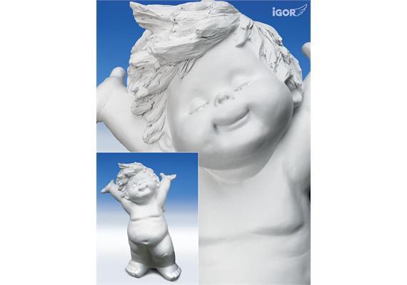 Poly-Engel ''Igor'' XXXL stehend (Arme hoch) weiss sort. H100cm, Lieferzeit 1-2 Monate