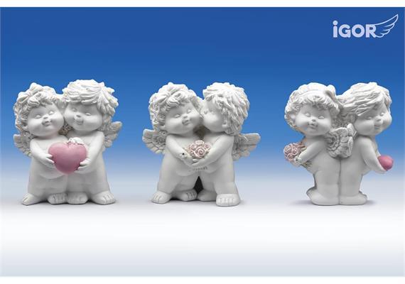 """Poly-Engelspaar """"Igor & Olga"""" weiss-rosé sort. H12 B11cm"""