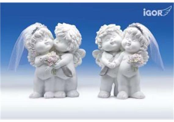 """Poly-Engelspaar """"Igor & Olga"""" zur Hochzeit weiss-coloriert sort. H15.5 B12.5cm"""