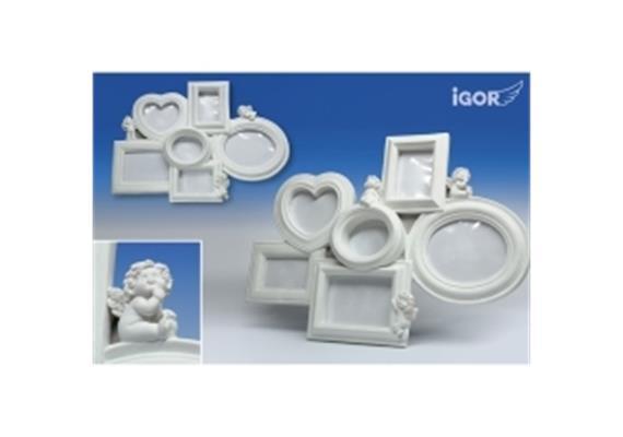 "Poly-Fotorahmen x6 ""Igor"" sth./hgd. weiss H = 36 cm"