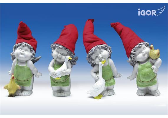 "Poly-Gartenengel ""Igor"" mit Mütze stony-grey coloriert sort. H16 L18-24cm"