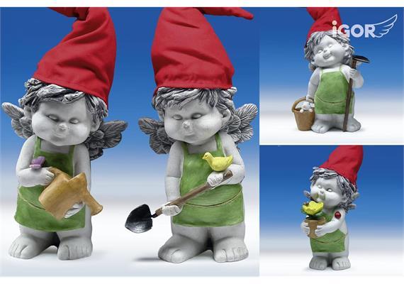 "Poly-Gartenengel ""Igor"" mit Mütze stony-grey coloriert sort. H25 L30-38cm"