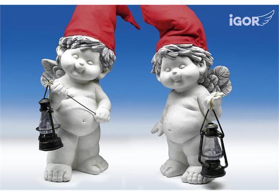"Poly-Gartenengl ""Igor"" mit Mütze stony-grey coloriiert sort. H34 L40-55cm"