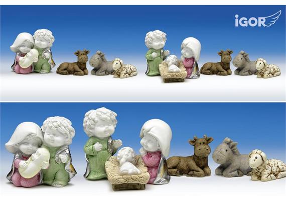 Poly-Hl.Familie ''Igor'' Set/4 weiss-coloriert sort. H/B7cm
