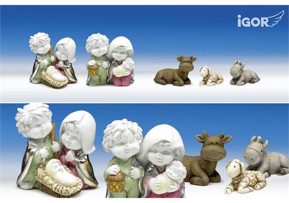 Poly-Hl.Familie ''Igor'' Set/4 weiss-coloriert sort. H4,5 B4,5-5,5cm