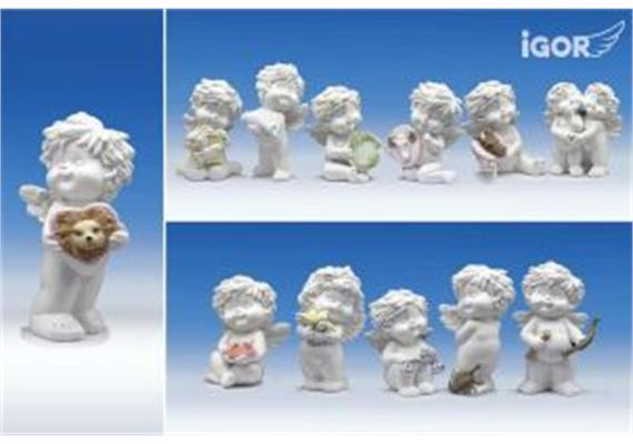 "Poly-Horoskop-Engel ""Igor"" im Display weiss-coloriert sort. H10-12.5cm"