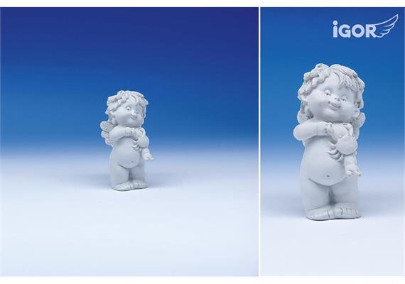 """Poly-Horoskop-Engel """"Igor"""" stehend weiss, Krebs, Höhe 6 - 7 cm"""