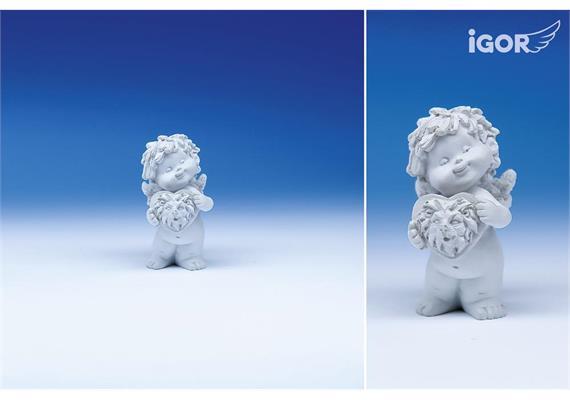 """Poly-Horoskop-Engel """"Igor"""" stehend weiss, Löwe, Höhe 6 - 7 cm"""
