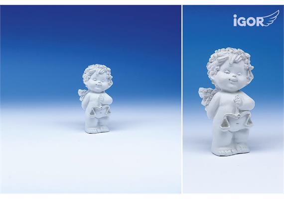 """Poly-Horoskop-Engel """"Igor"""" stehend weiss, Waage, Höhe 6 - 7 cm"""