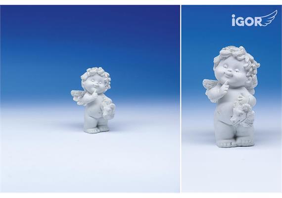 "Poly-Horoskop-Engel ""Igor"" stehend weiss, Widder, Höhe 6 - 7 cm"