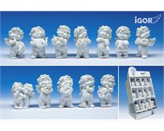 Poly-Horoskop-Engel ''Igor'' weiss in Display à 36 Stück sort. H6-7cm