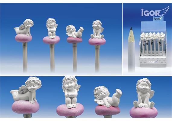 Poly-Liebesengel ''Igor'' auf Bleistift in weiss-rosé sort. ø3 H3,5-4 L21cm