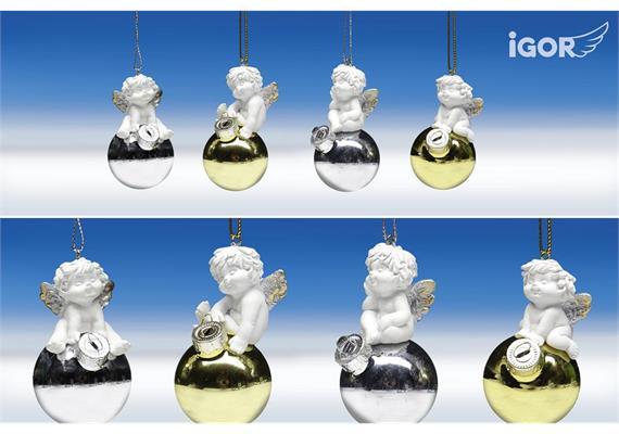 Poly-Weihnachtsengel ''Igor'' auf Glas-Kugel hgd. weiß-gold/silber sort. ø4 H7cm