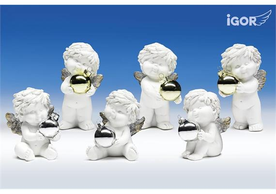 Poly-Weihnachtsengel ''Igor'' mit Glas-Kugel weiß-gold/silber sort. H10/12cm