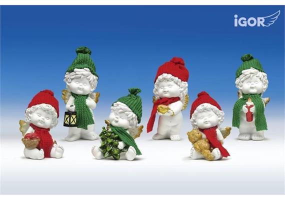 Poly-Weihnachtsengel Igor mit Wollmütze weiss-rot/grün sort. H10/13cm