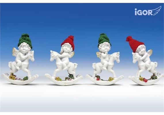 Poly-Weihnachtsengel Igor/Olga auf Schaukelpferd weiss-rot/grün sort. H12 B10cm