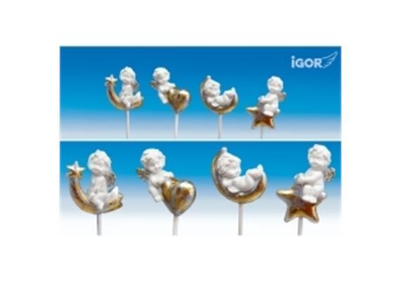 Poly-Weihnachtsengel ''Igor'' +Stick weissgold- silber sort. H4-5,5cm L38cm