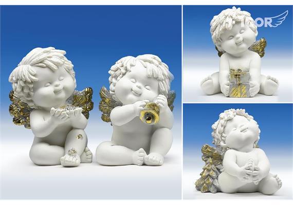 "Poly-Weihnachtsengel ""Igor"" stz. weiss-gold-silber sort. H12cm"