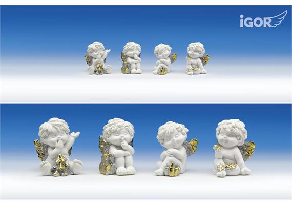 "Poly-Weihnachtsengel ""Igor"" stz. weiss-gold-silber sort. H4cm"