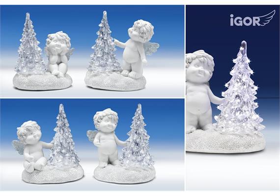 Poly-Winterengel ''Igor'' + LED-Baum weiss sort. H9 B9cm