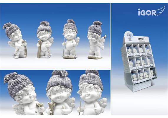 """Poly-Winterengel """"Igor mit Wollmütze auf Ski weiss-grau sort. H8cm"""
