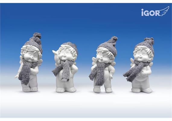 """Poly-Winterengel """"Igor"""" mit Wollmütze weiss-grau sort. H13cm"""