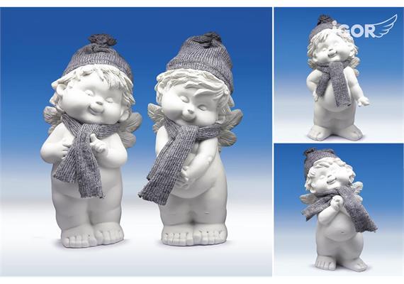 """Poly-Winterengel """"Igor"""" mit Wollmütze weiss-grau sort. H24cm"""