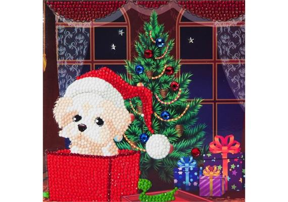Puppy For Christmas, 18x18cm Crystal Art Card