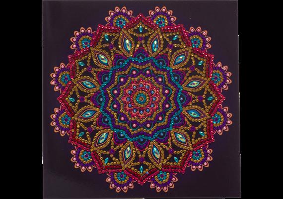 Purple Mandala, 18x18cm Crystal Art Card