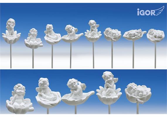 Restposten Poly-Engel ''Igor'' auf Blüten/Herz/Blatt-Sticker weiss sort. H4-5,5 L35cm