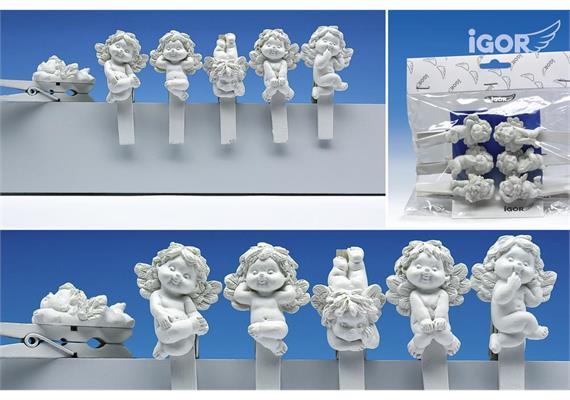 """Restposten Poly-Engel """"Igor"""" auf Holzkluppe flach weiss, assortiert, L 4.5 / 7.5 cm"""