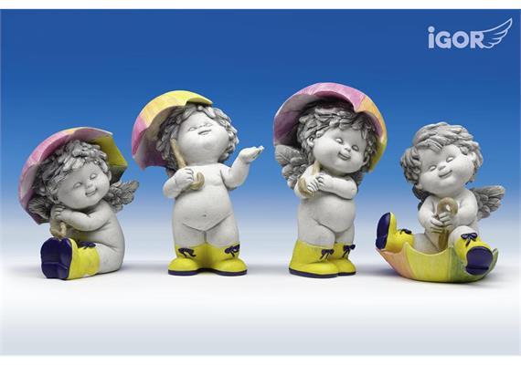"""Restposten Poly-Engel """"Igor"""" mit Regenschirm stony-grey sort. H14-18cm"""