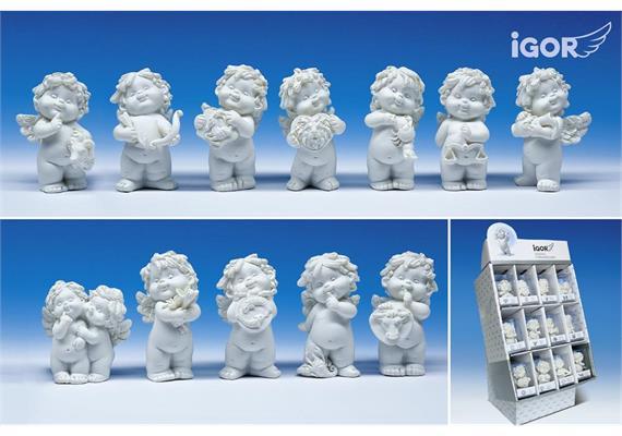 Restposten Poly-Horoskop-Engel ''Igor'' weiss in Display à 36 Stück sort. H6-7cm