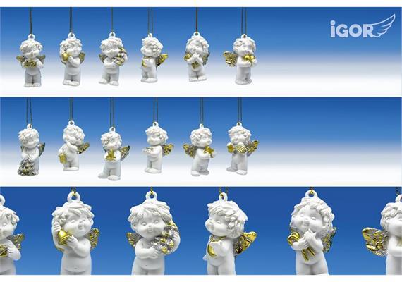 Restposten Poly-Weihnachtsengel ''Igor'' hgd. weiss-gold-silber sort. H5cm