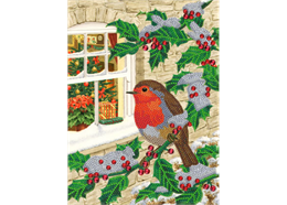 Robin at the Window, 21x29cm Giant Crystal Art Card