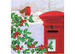 Robin & Postbox, 18x18cm Crystal Art Card