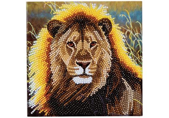 Ruhender Löwe, Karte 18x18cm Crystal Art