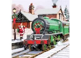 Santa Express, 18x18cm Crystal Art Card