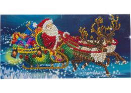 Santa's Sleigh, 11x22cm Crystal Art Card