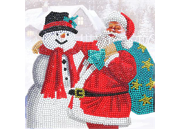 Santa & Snowman, 18x18cm Crystal Art Card
