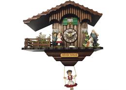 Schaukeluhr (Chaletmodell) mit Heidi Figuren und drehenden Geisslein, Quarz