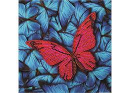 Schmetterling, Karte 18x18cm Crystal Art