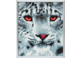 Schnee-Leopard, 21x25cm Bild mit Rahmen Crystal Art
