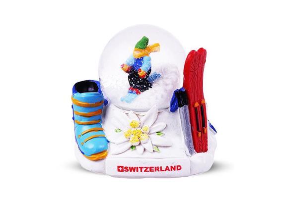 Schneekugel Skifahrer
