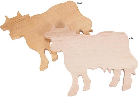 """Schneidebrett aus Buche """"Kuh"""" 35,5x27,5x2cm - CNC Form ohne Oberflächenbehandlung"""