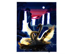Schwäne im Mondlicht, Bild 40x50cm LED Crystal Art Kit