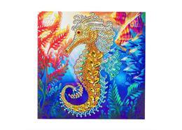 Seahorse, 18x18cm Crystal Art Card