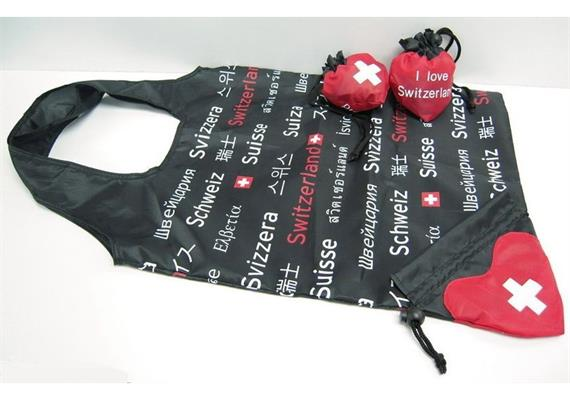 Shopping Bag, Einkaufstasche faltbar, schwarz-rot