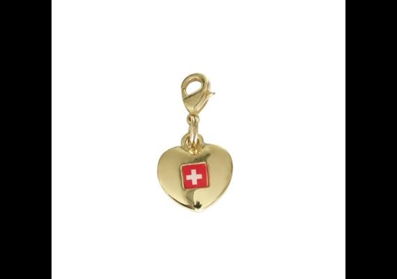 SLA Herzanhänger Switzerland, gold