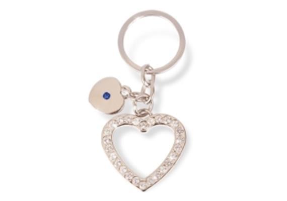 SLA in Herzform, Strass, kleinem Herz, Schmuckstein blau, Metall silber, 3.5 cm